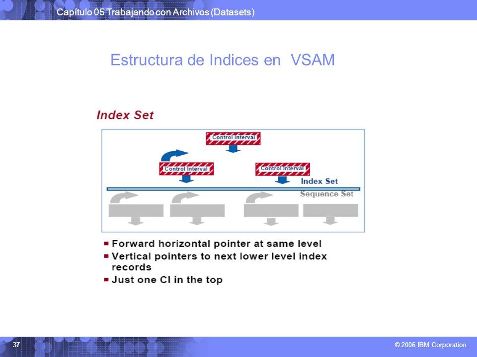 Capítulo 05 Trabajando con Archivos (Datasets) © 2006 IBM Corporation 37 Estructura de Indices en VSAM