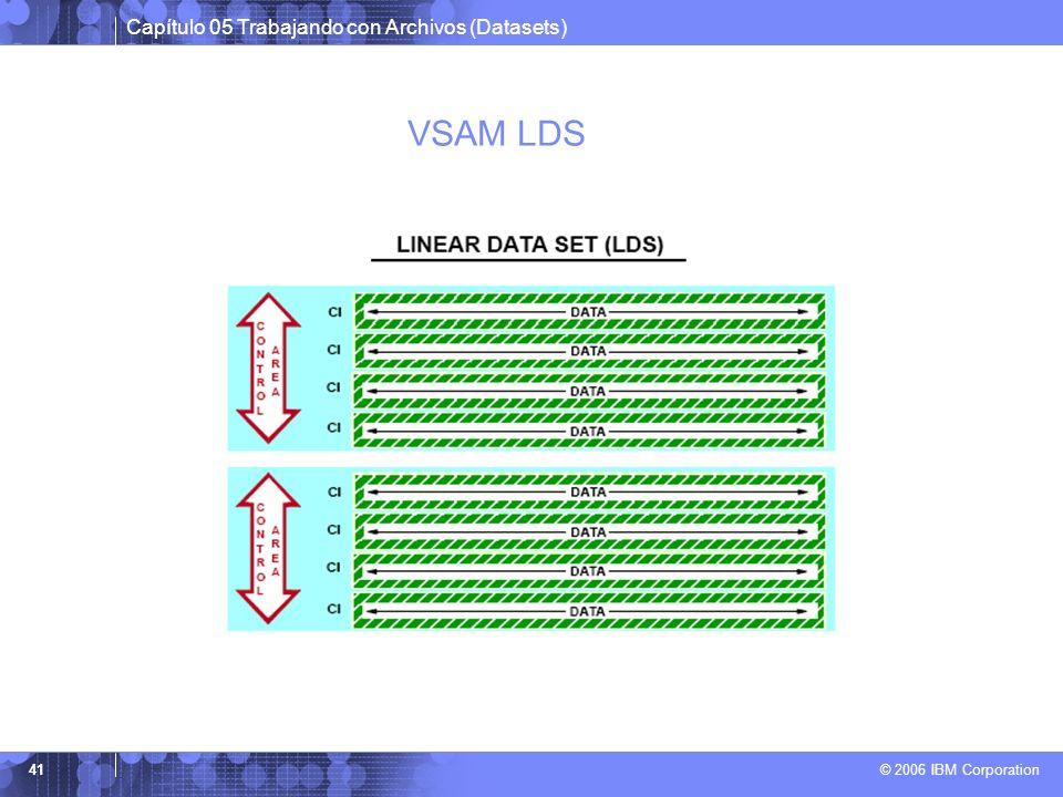 Capítulo 05 Trabajando con Archivos (Datasets) © 2006 IBM Corporation 41 VSAM LDS