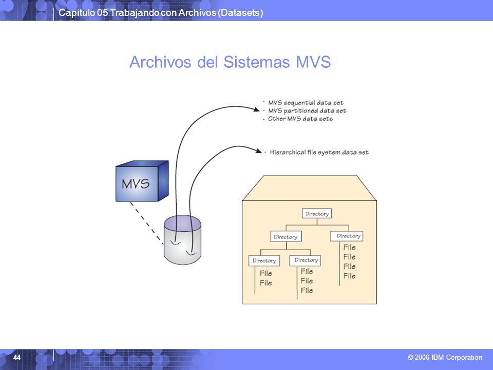 Capítulo 05 Trabajando con Archivos (Datasets) © 2006 IBM Corporation 44 Archivos del Sistemas MVS