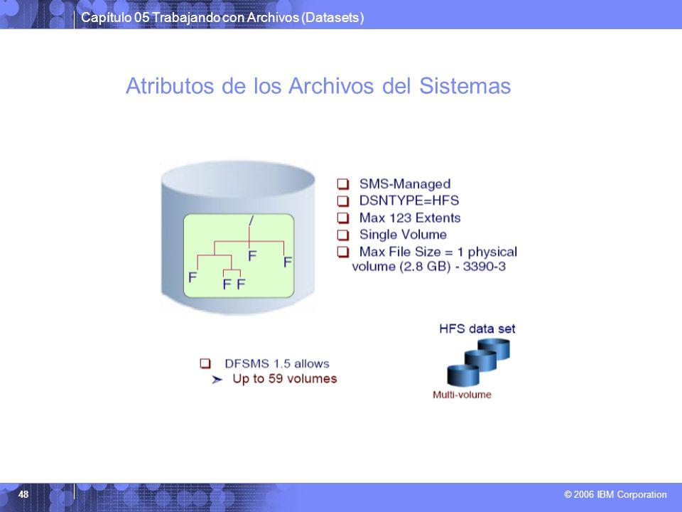 Capítulo 05 Trabajando con Archivos (Datasets) © 2006 IBM Corporation 48 Atributos de los Archivos del Sistemas