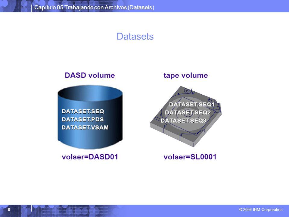 Capítulo 05 Trabajando con Archivos (Datasets) © 2006 IBM Corporation 8 Datasets
