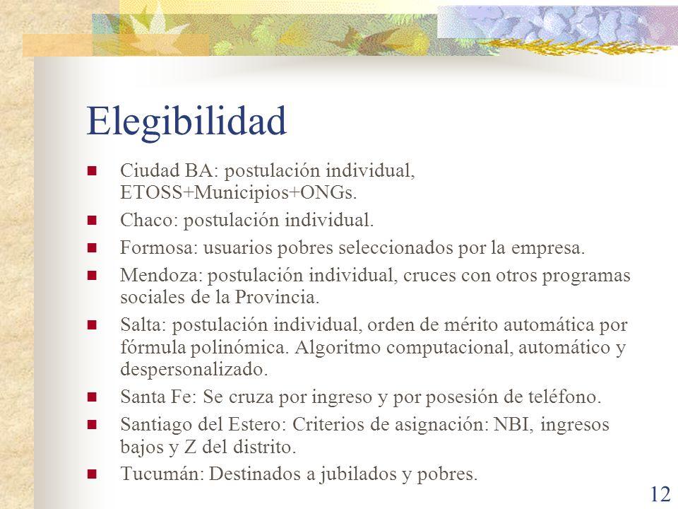 12 Elegibilidad Ciudad BA: postulación individual, ETOSS+Municipios+ONGs. Chaco: postulación individual. Formosa: usuarios pobres seleccionados por la