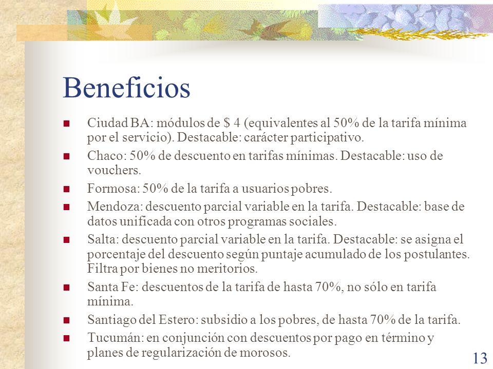 13 Beneficios Ciudad BA: módulos de $ 4 (equivalentes al 50% de la tarifa mínima por el servicio). Destacable: carácter participativo. Chaco: 50% de d