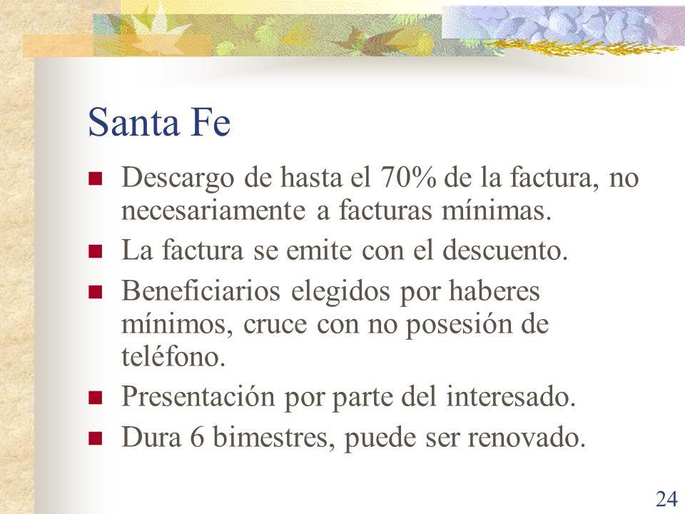 24 Santa Fe Descargo de hasta el 70% de la factura, no necesariamente a facturas mínimas. La factura se emite con el descuento. Beneficiarios elegidos
