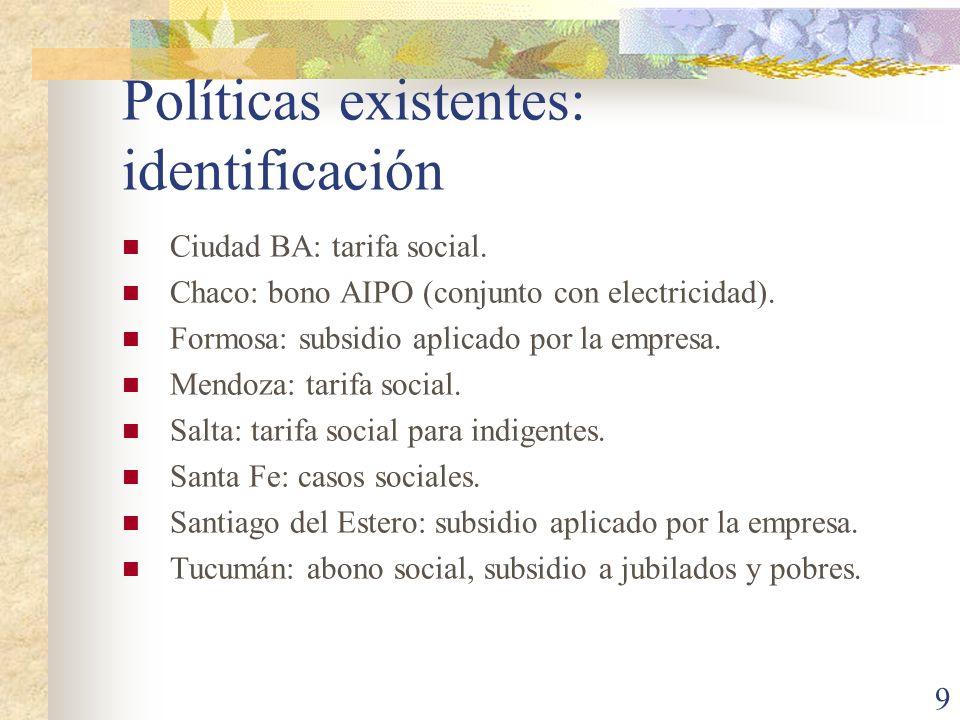 9 Políticas existentes: identificación Ciudad BA: tarifa social. Chaco: bono AIPO (conjunto con electricidad). Formosa: subsidio aplicado por la empre