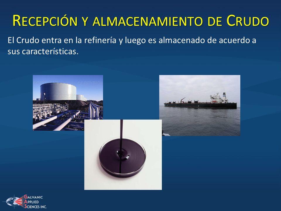 R ECEPCIÓN Y ALMACENAMIENTO DE C RUDO El Crudo entra en la refinería y luego es almacenado de acuerdo a sus características.