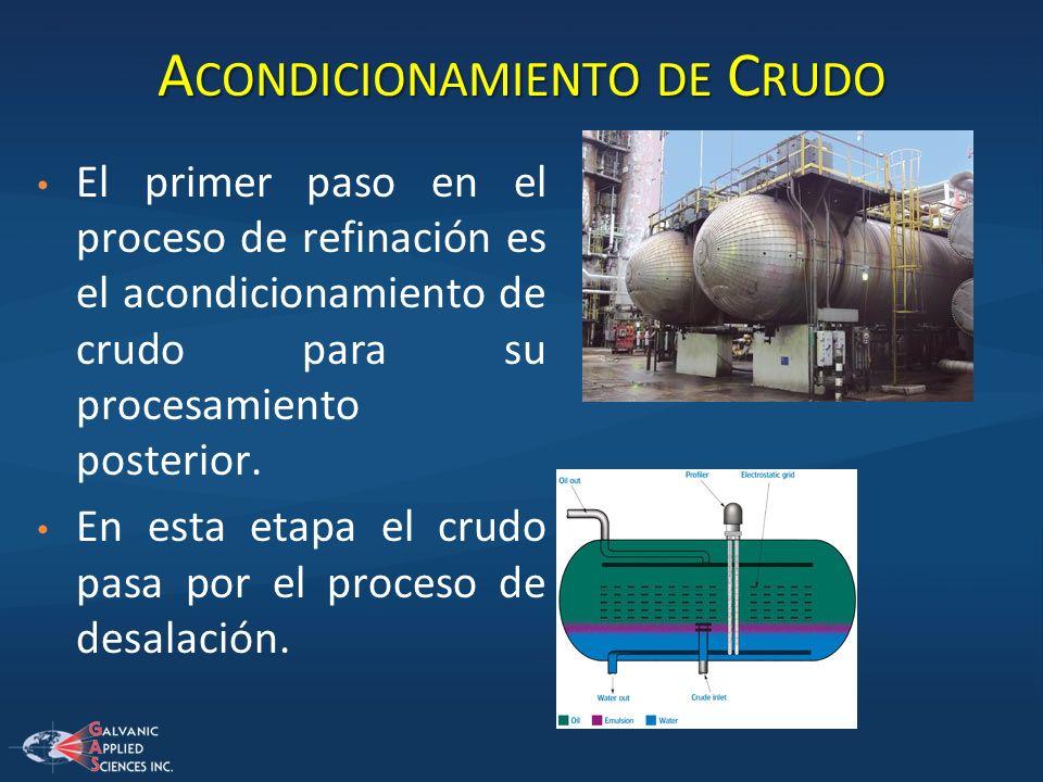 A CONDICIONAMIENTO DE C RUDO El primer paso en el proceso de refinación es el acondicionamiento de crudo para su procesamiento posterior. En esta etap