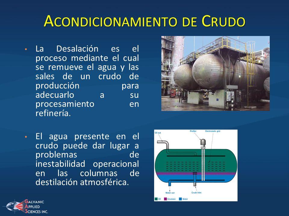 A CONDICIONAMIENTO DE C RUDO La Desalación es el proceso mediante el cual se remueve el agua y las sales de un crudo de producción para adecuarlo a su