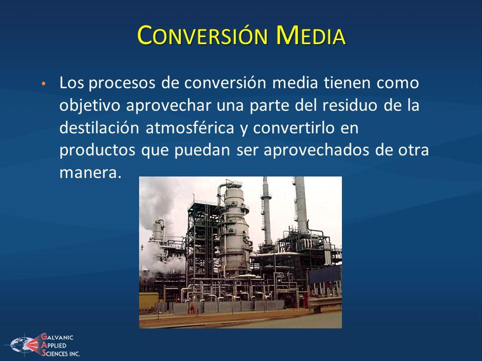 C ONVERSIÓN M EDIA Los procesos de conversión media tienen como objetivo aprovechar una parte del residuo de la destilación atmosférica y convertirlo