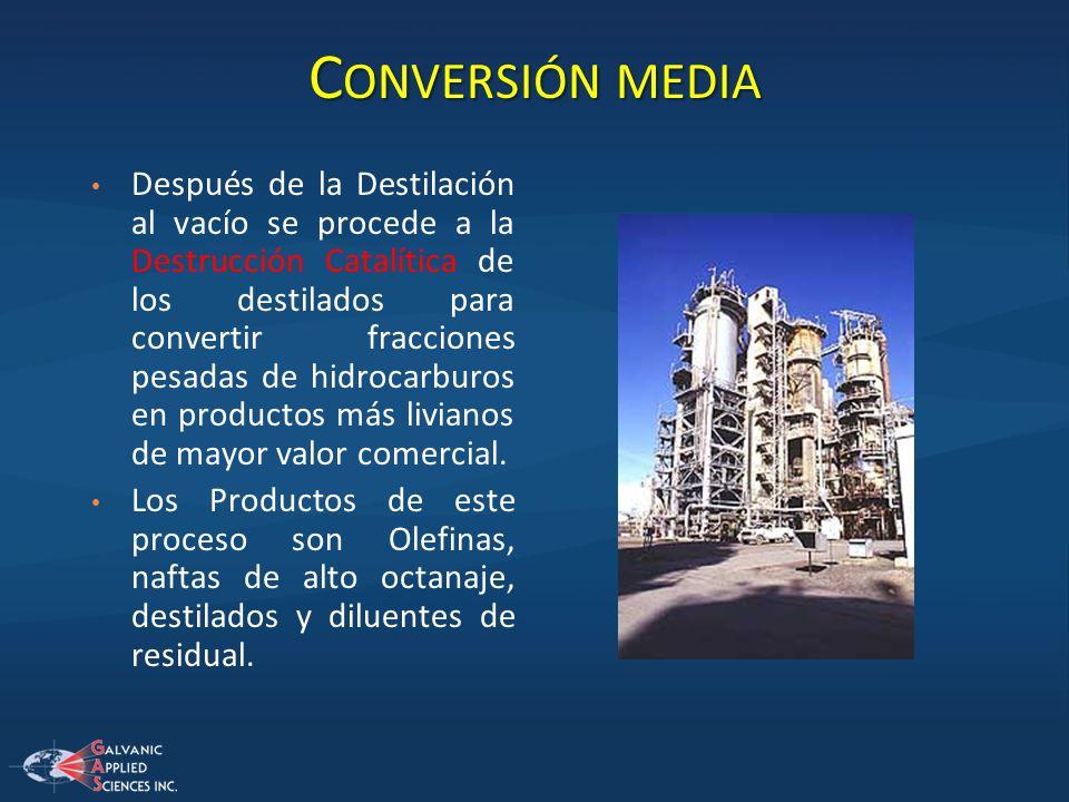 C ONVERSIÓN MEDIA Después de la Destilación al vacío se procede a la Destrucción Catalítica de los destilados para convertir fracciones pesadas de hid