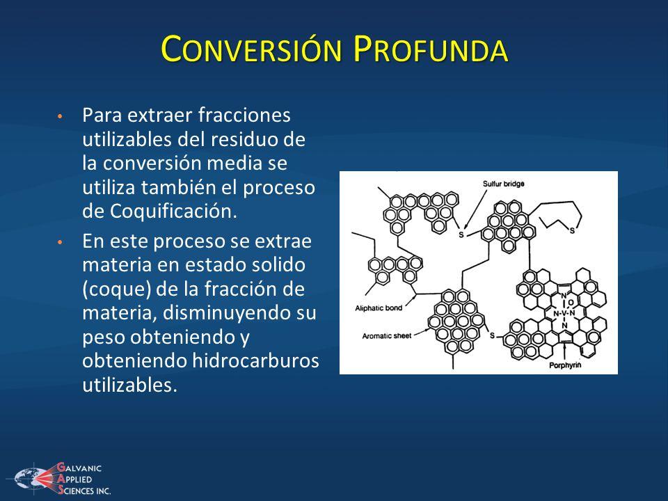 C ONVERSIÓN P ROFUNDA Para extraer fracciones utilizables del residuo de la conversión media se utiliza también el proceso de Coquificación. En este p
