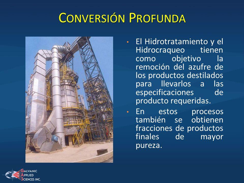 C ONVERSIÓN P ROFUNDA El Hidrotratamiento y el Hidrocraqueo tienen como objetivo la remoción del azufre de los productos destilados para llevarlos a l