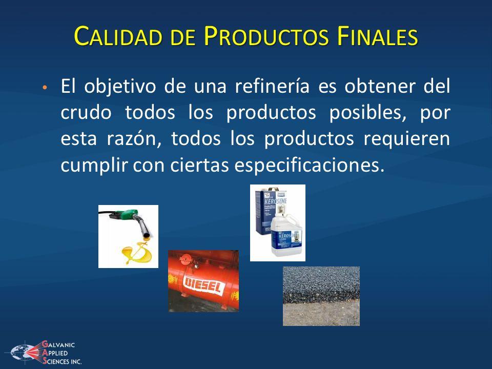 C ALIDAD DE P RODUCTOS F INALES El objetivo de una refinería es obtener del crudo todos los productos posibles, por esta razón, todos los productos re