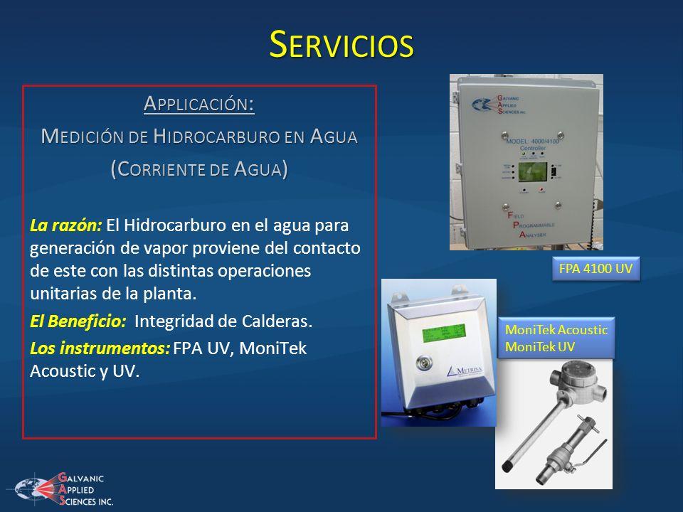 S ERVICIOS A PPLICACIÓN : M EDICIÓN DE H IDROCARBURO EN A GUA (C ORRIENTE DE A GUA ) La razón: El Hidrocarburo en el agua para generación de vapor pro