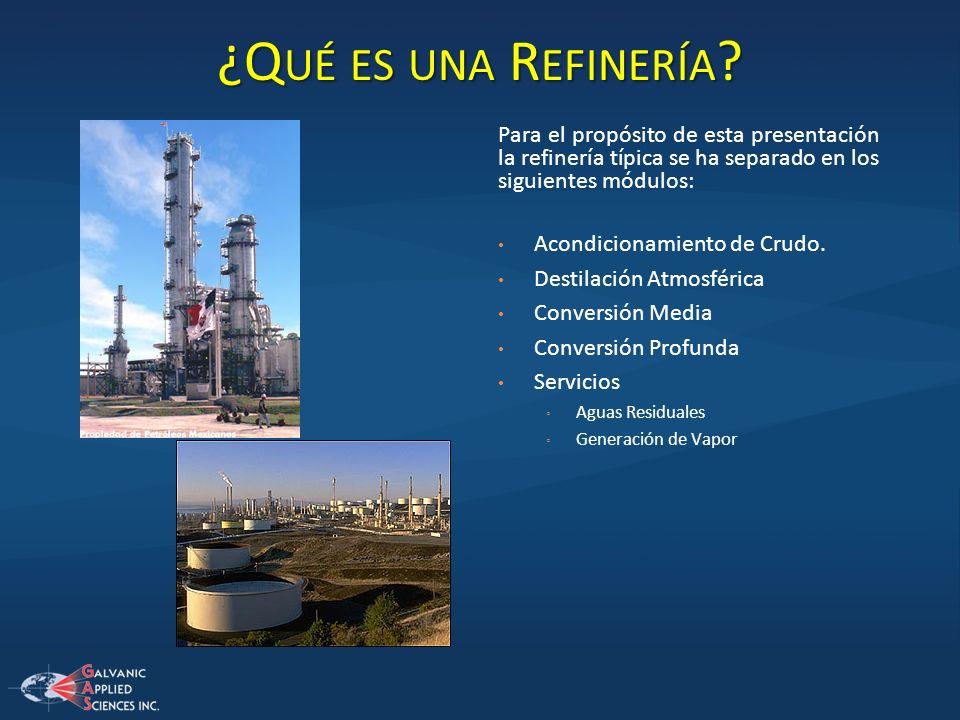 ¿Q UÉ ES UNA R EFINERÍA ? Para el propósito de esta presentación la refinería típica se ha separado en los siguientes módulos: Acondicionamiento de Cr