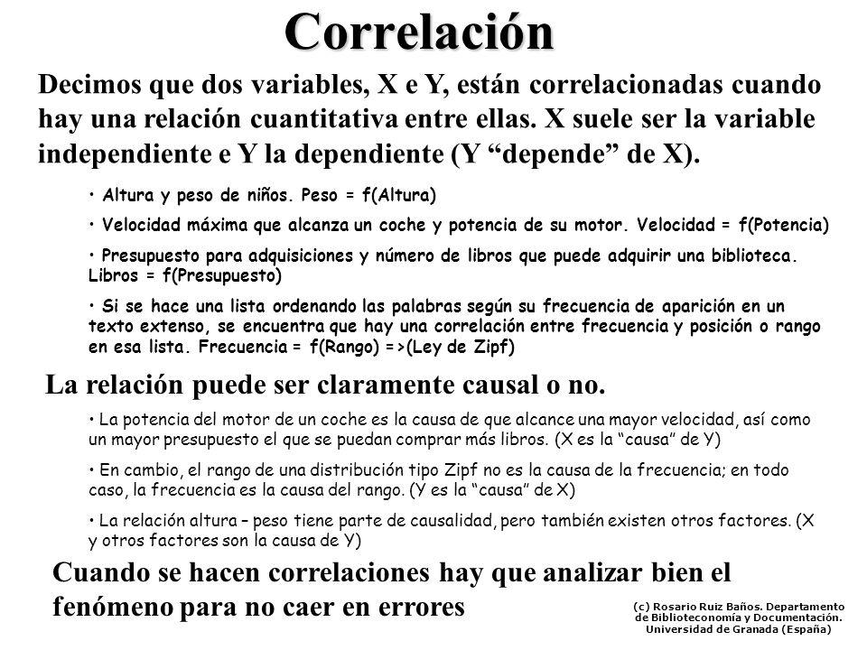 Correlación Decimos que dos variables, X e Y, están correlacionadas cuando hay una relación cuantitativa entre ellas. X suele ser la variable independ