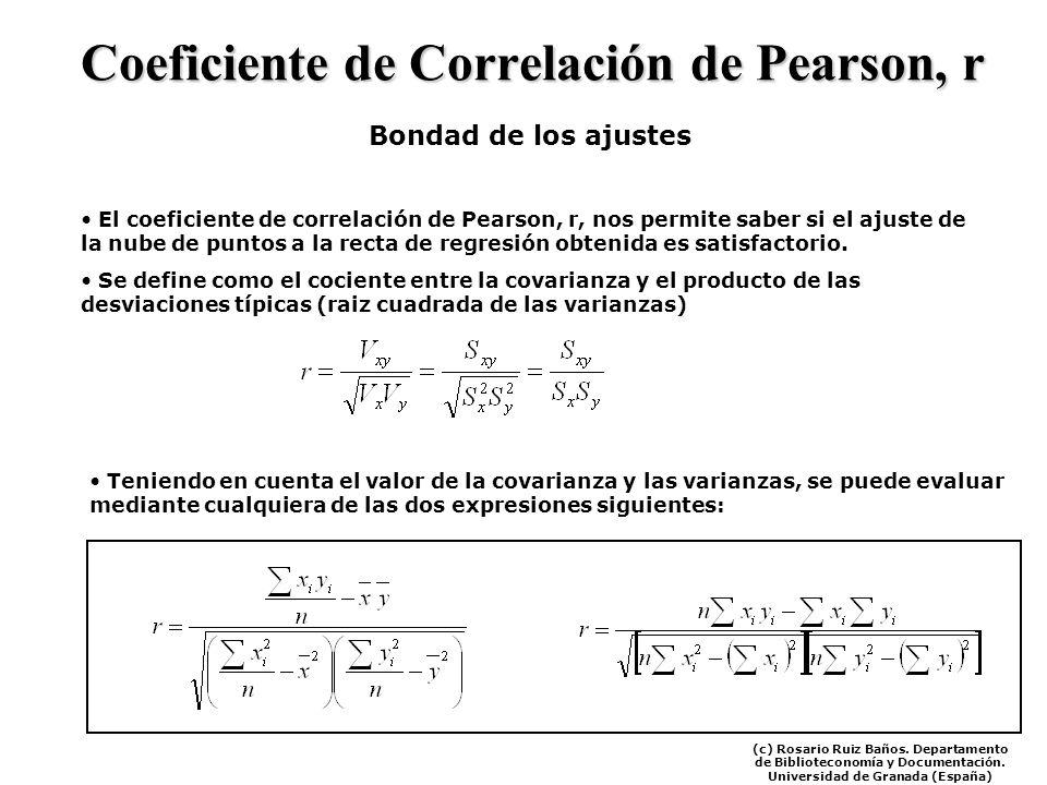 Coeficiente de Correlación de Pearson, r Bondad de los ajustes El coeficiente de correlación de Pearson, r, nos permite saber si el ajuste de la nube