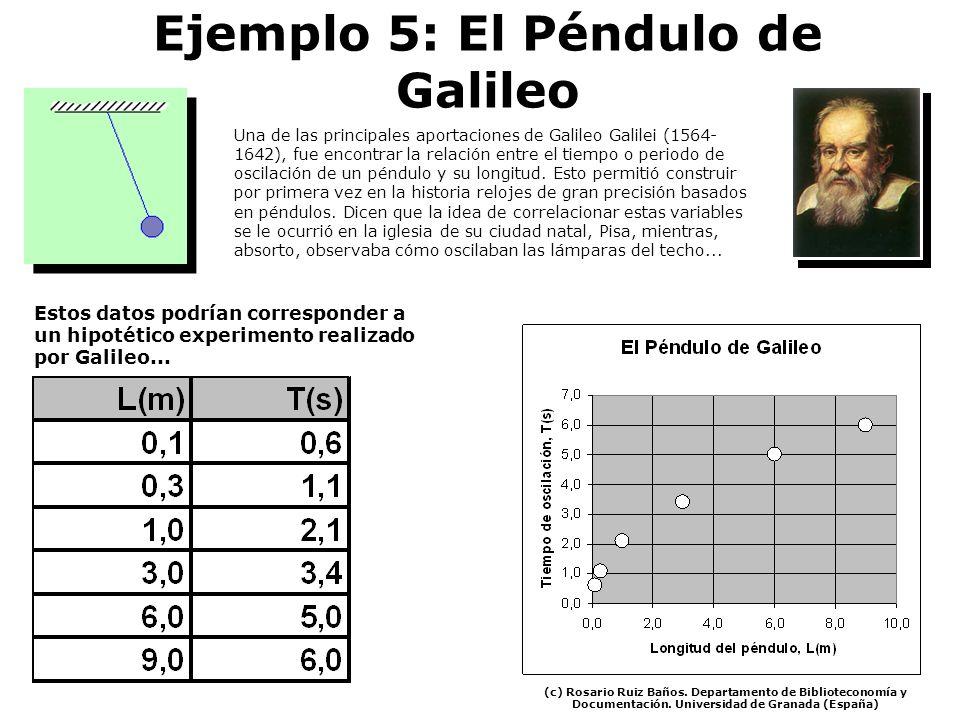 Ejemplo 5: El Péndulo de Galileo Una de las principales aportaciones de Galileo Galilei (1564- 1642), fue encontrar la relación entre el tiempo o peri