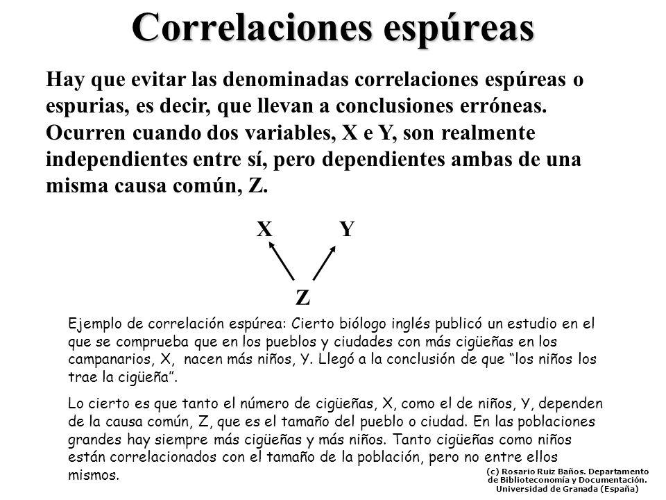 Correlaciones espúreas Hay que evitar las denominadas correlaciones espúreas o espurias, es decir, que llevan a conclusiones erróneas. Ocurren cuando
