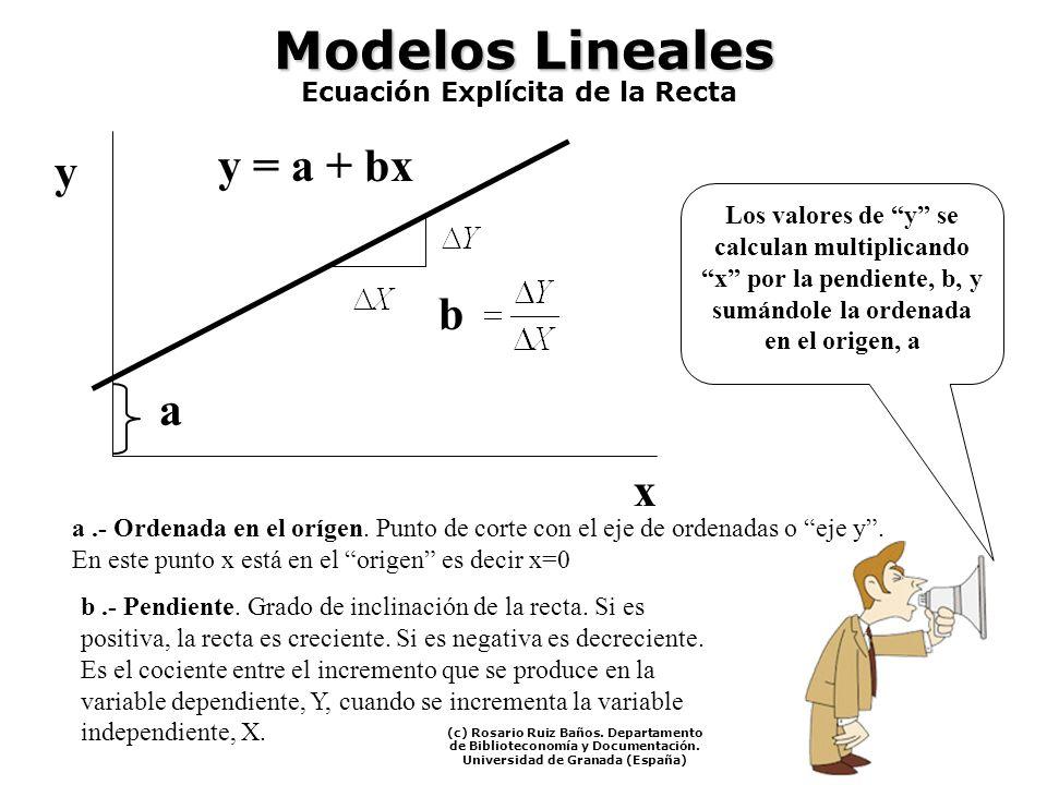 Modelos Lineales a.- Ordenada en el orígen. Punto de corte con el eje de ordenadas o eje y. En este punto x está en el origen es decir x=0 b.- Pendien