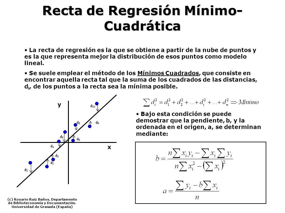 Recta de Regresión Mínimo- Cuadrática La recta de regresión es la que se obtiene a partir de la nube de puntos y es la que representa mejor la distrib