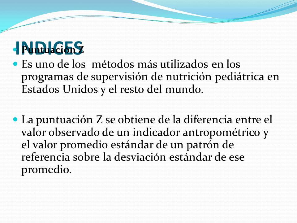 INDICES Puntuación Z Es uno de los métodos más utilizados en los programas de supervisión de nutrición pediátrica en Estados Unidos y el resto del mun