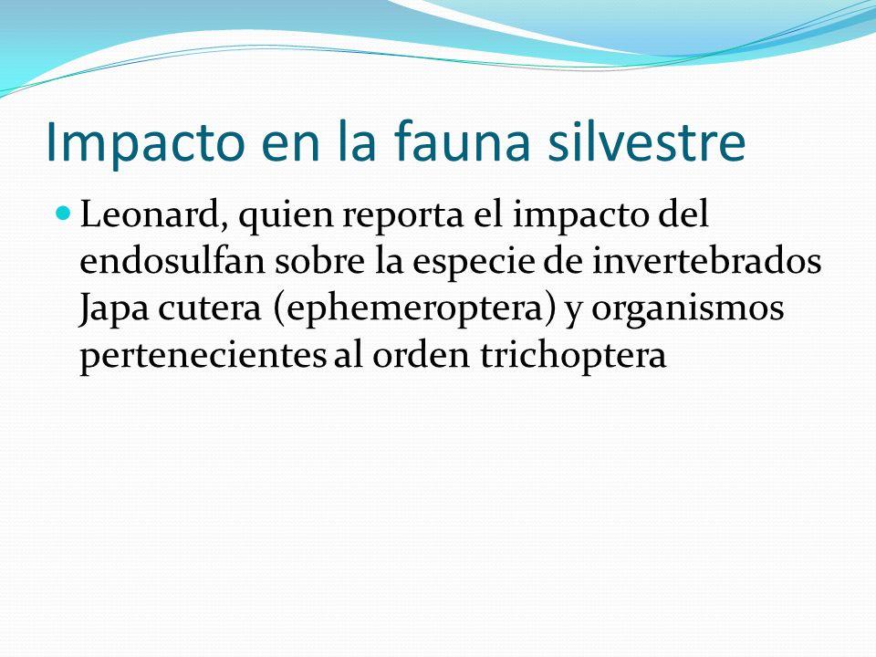 Impacto en la fauna silvestre Leonard, quien reporta el impacto del endosulfan sobre la especie de invertebrados Japa cutera (ephemeroptera) y organis