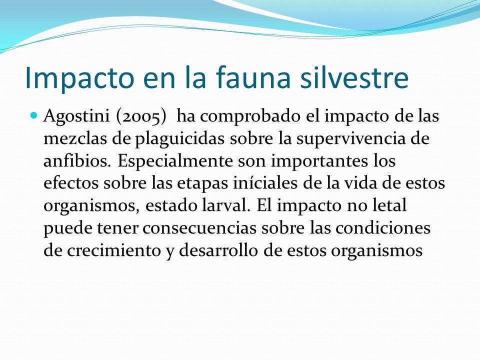 Impacto en la fauna silvestre Agostini (2005) ha comprobado el impacto de las mezclas de plaguicidas sobre la supervivencia de anfibios. Especialmente
