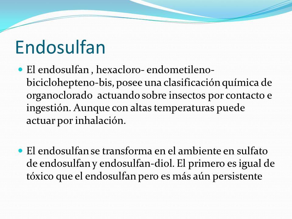 Endosulfan El endosulfan, hexacloro- endometileno- biciclohepteno-bis, posee una clasificación química de organoclorado actuando sobre insectos por co