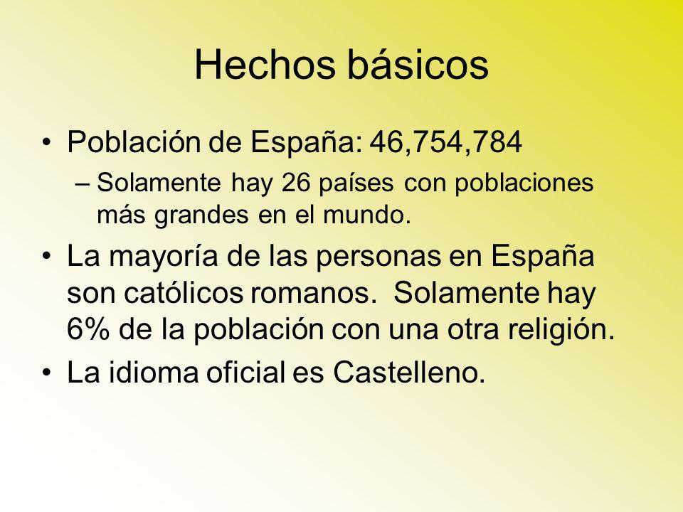 Hechos básicos Población de España: 46,754,784 –Solamente hay 26 países con poblaciones más grandes en el mundo. La mayoría de las personas en España
