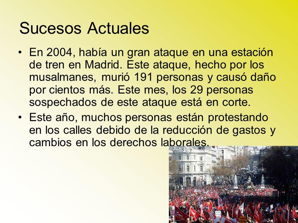 Sucesos Actuales En 2004, había un gran ataque en una estación de tren en Madrid. Este ataque, hecho por los musalmanes, murió 191 personas y causó da