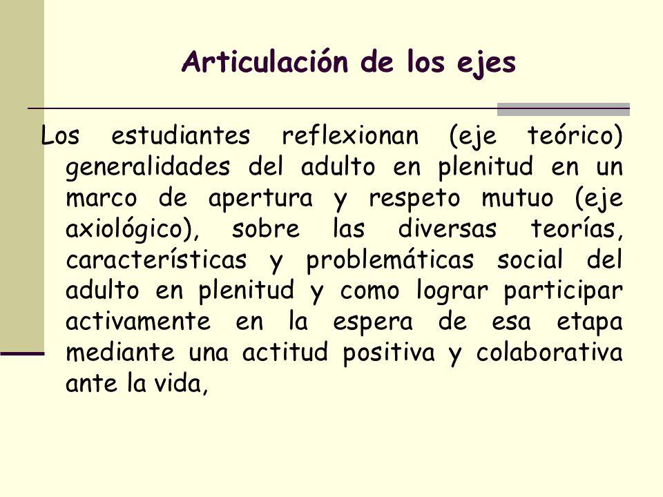 Articulación de los ejes Los estudiantes reflexionan (eje teórico) generalidades del adulto en plenitud en un marco de apertura y respeto mutuo (eje a