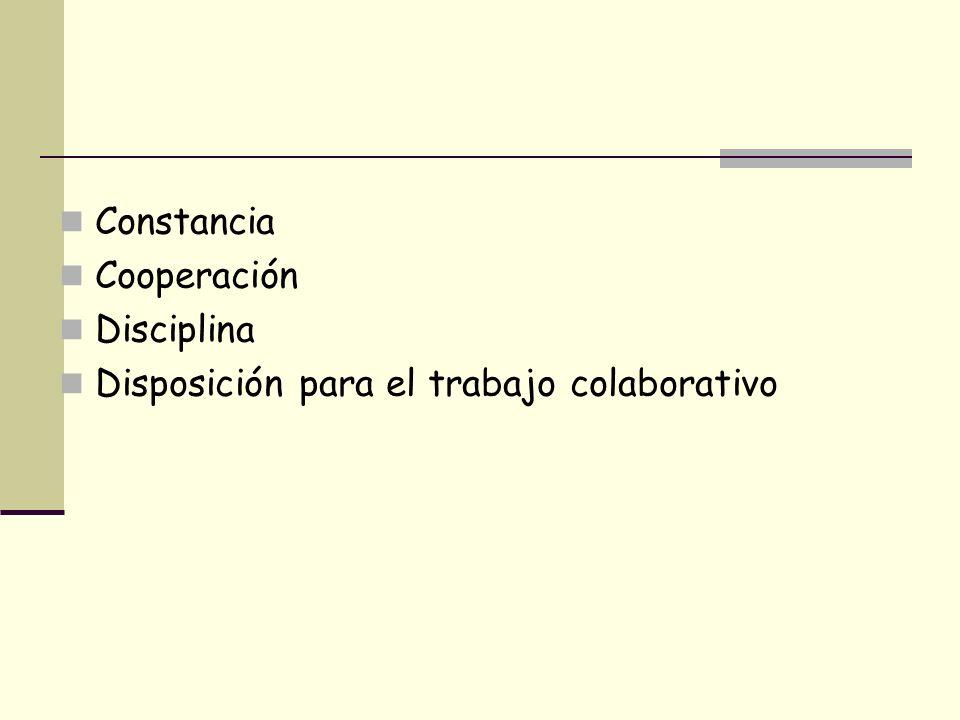 Constancia Cooperación Disciplina Disposición para el trabajo colaborativo
