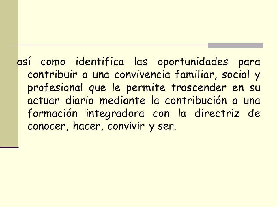 así como identifica las oportunidades para contribuir a una convivencia familiar, social y profesional que le permite trascender en su actuar diario m