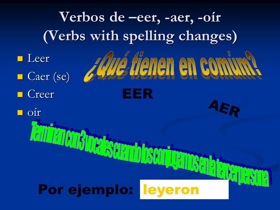 Verbos de –eer, -aer, -oír (Verbs with spelling changes) Leer Leer Caer (se) Caer (se) Creer Creer oír oír EER AER Por ejemplo: leieronleyeron