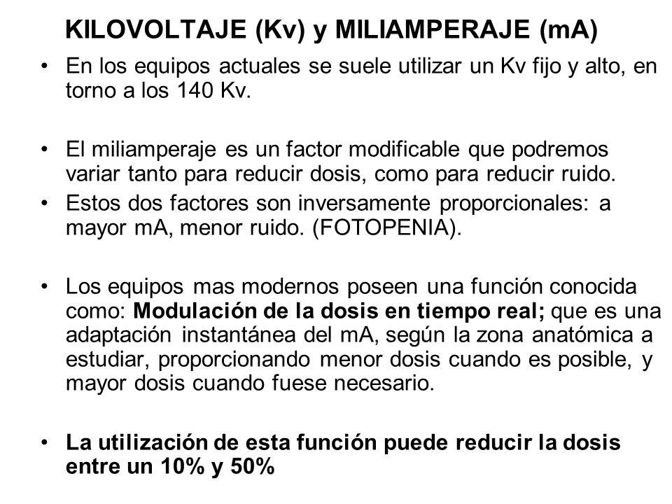 KILOVOLTAJE (Kv) y MILIAMPERAJE (mA) En los equipos actuales se suele utilizar un Kv fijo y alto, en torno a los 140 Kv. El miliamperaje es un factor