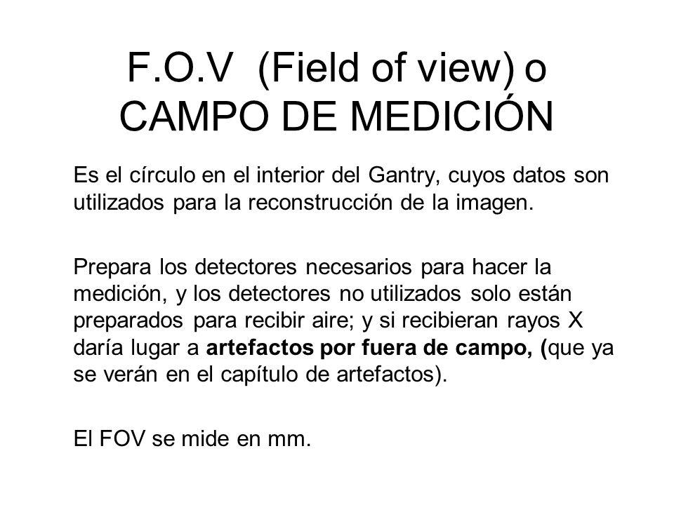 F.O.V (Field of view) o CAMPO DE MEDICIÓN Es el círculo en el interior del Gantry, cuyos datos son utilizados para la reconstrucción de la imagen. Pre