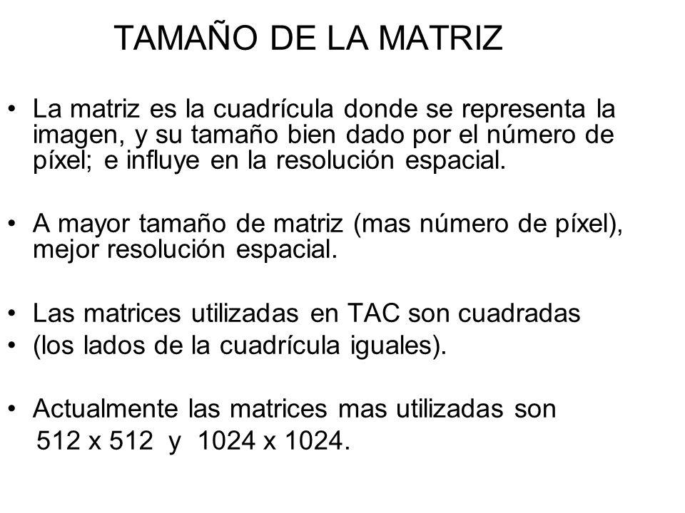 TAMAÑO DE LA MATRIZ La matriz es la cuadrícula donde se representa la imagen, y su tamaño bien dado por el número de píxel; e influye en la resolución