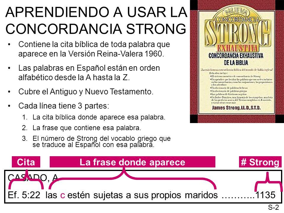 APRENDIENDO A USAR LA CONCORDANCIA STRONG Contiene la cita bíblica de toda palabra que aparece en la Versión Reina-Valera 1960. Las palabras en Españo