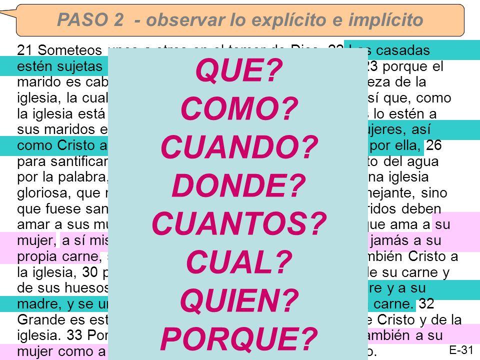 CORRECCION DE TAREA #3 – Efesios 5:21-33 PASO 1 - bombardear el texto con preguntasPASO 2 - observar lo explícito e implícito 21 Someteos unos a otros