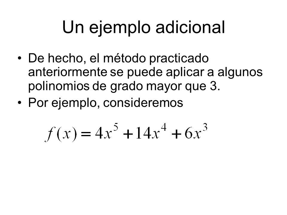 Un ejemplo adicional De hecho, el método practicado anteriormente se puede aplicar a algunos polinomios de grado mayor que 3. Por ejemplo, consideremo
