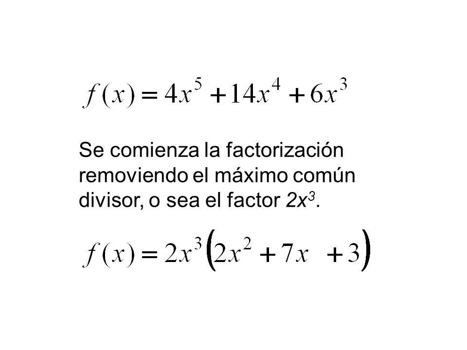 Se comienza la factorización removiendo el máximo común divisor, o sea el factor 2x 3.