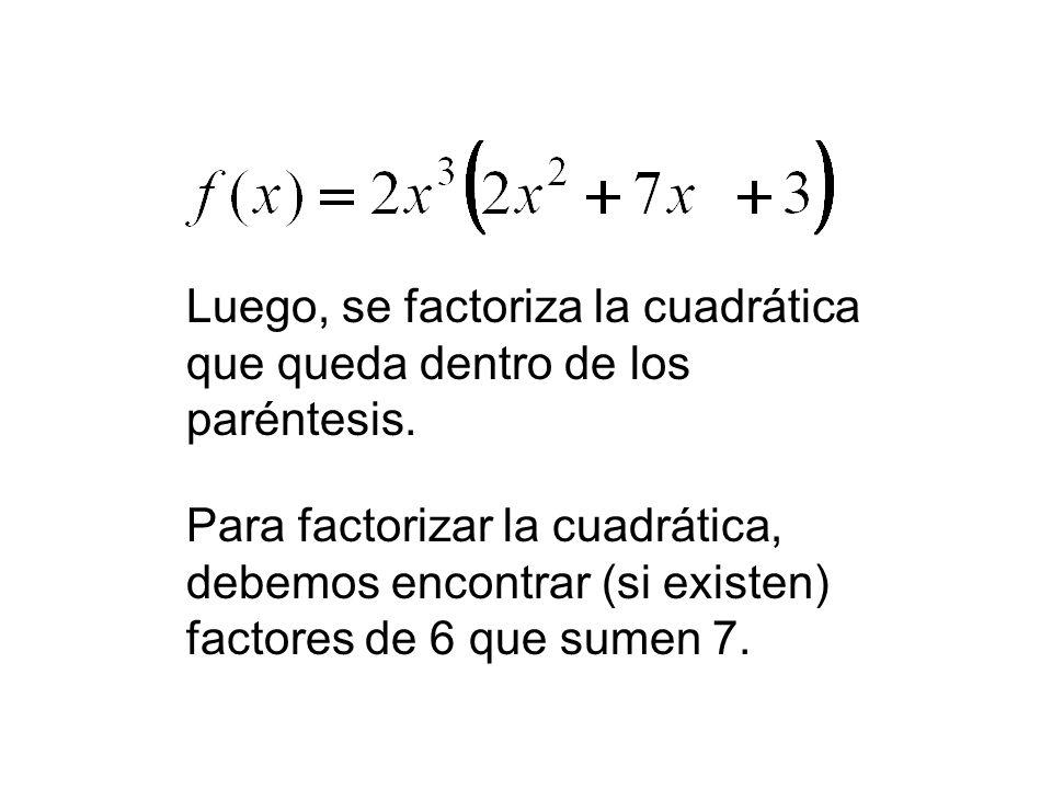 Luego, se factoriza la cuadrática que queda dentro de los paréntesis. Para factorizar la cuadrática, debemos encontrar (si existen) factores de 6 que