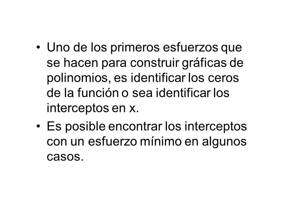 Uno de los primeros esfuerzos que se hacen para construir gráficas de polinomios, es identificar los ceros de la función o sea identificar los interce