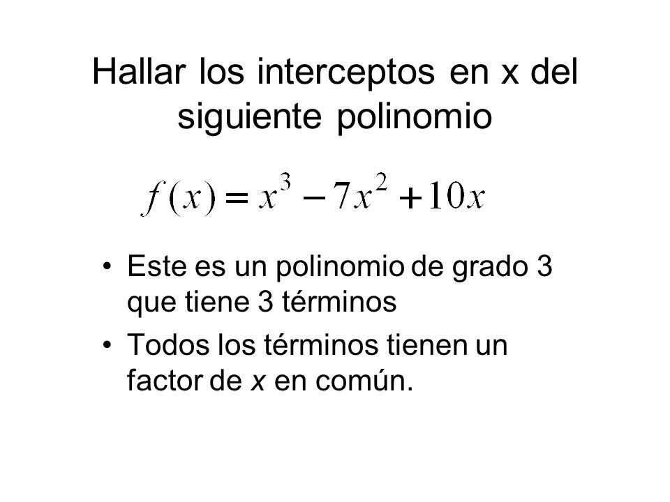 Hallar los interceptos en x del siguiente polinomio Este es un polinomio de grado 3 que tiene 3 términos Todos los términos tienen un factor de x en c