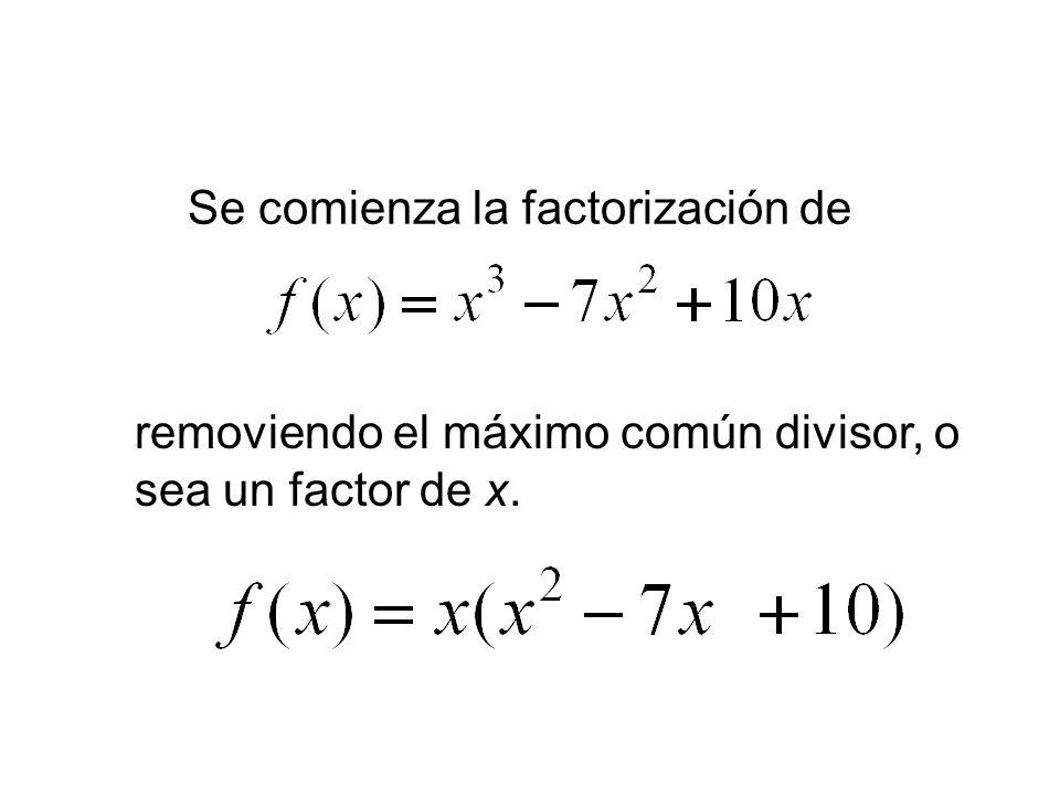 Se comienza la factorización de removiendo el máximo común divisor, o sea un factor de x.