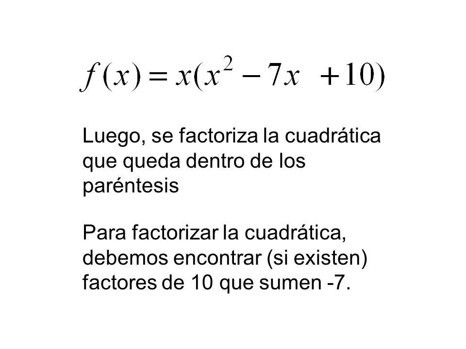 Luego, se factoriza la cuadrática que queda dentro de los paréntesis Para factorizar la cuadrática, debemos encontrar (si existen) factores de 10 que