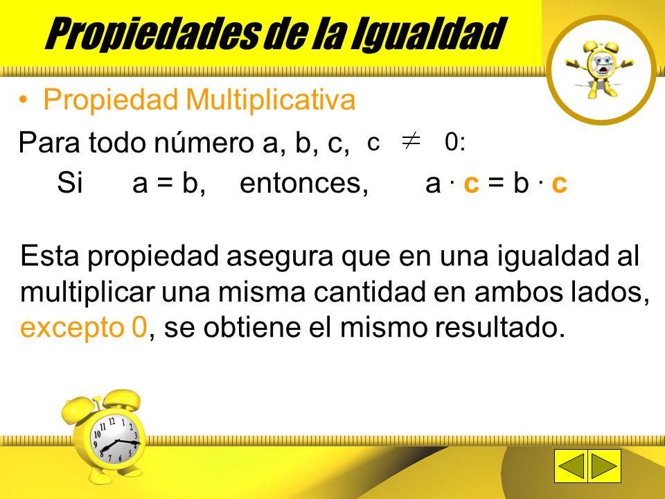 Propiedad Aditiva Para todo número a, b, c: Si a = b, entonces, a + c = b + c Esta propiedad asegura que en una igualdad al sumar una misma cantidad e
