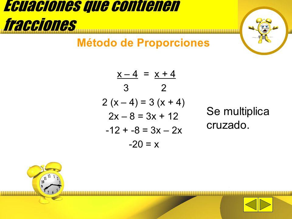 Ecuaciones que contienen fracciones Método de Proporciones Aplica cuando es una proporción. Una proporción es una igualdad entre dos fracciones. Ejemp