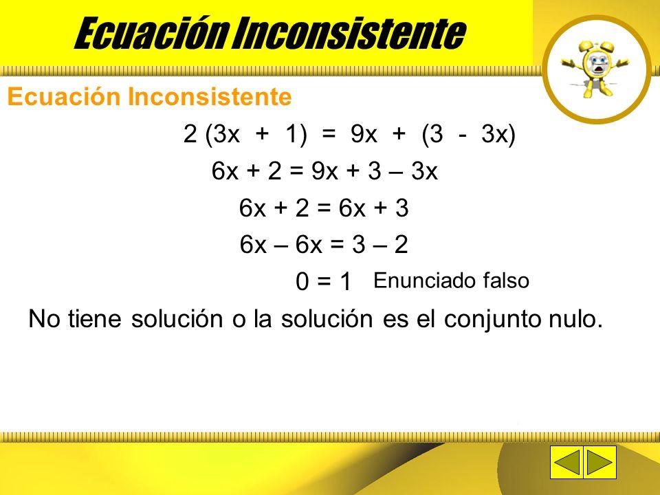 Ecuación Identidad 2x + 1 = 5x + 1 - 3x 2x + 1 = 2x + 1 2x – 2x = 1 – 1 0 = 0 Solución son todos los números Reales Enunciado cierto